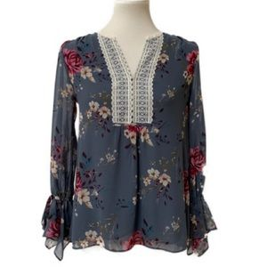 WHBM Floral Bell Sleeve Blouse
